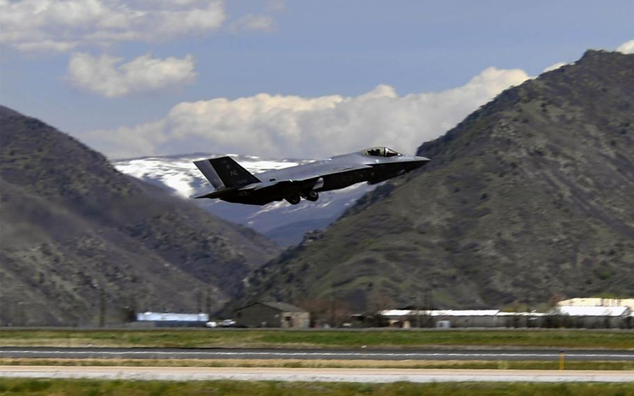 An F-35A Lightning II fighter jet from the 388th Fighter Wing at Hill Air Force Base, Utah, takes off for Eielson Air Force Base, Alaska, April 27, 2020.