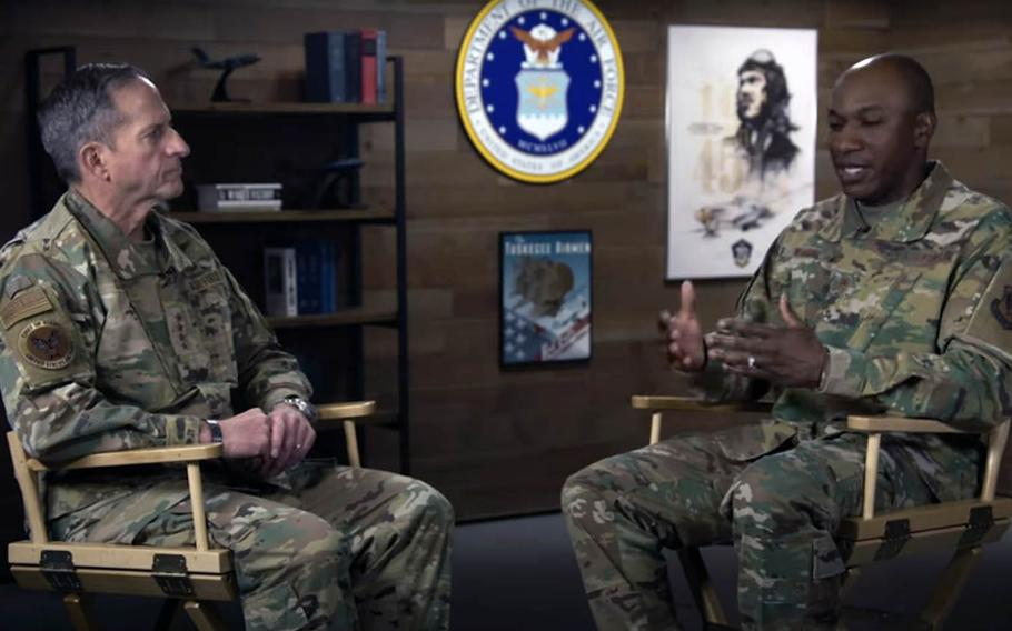 U.S. Air Force Chief of Staff David Goldfein, left, and Chief Master Sgt. of the Air Force Kaleth O. Wright discuss the death of George Floyd in Minneapolis and Wright's concerns for young, black airmen in this screenshot from a video posted on social media, Tuesday, June 2, 2020.