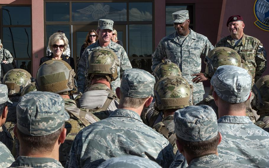 Air Force Chief of Staff Gen. David Goldfein and Chief Master Sergeant of the Air Force Kaleth O. Wright speak with airmen at Kirtland Air Force Base, N.M., Oct. 20, 2017.