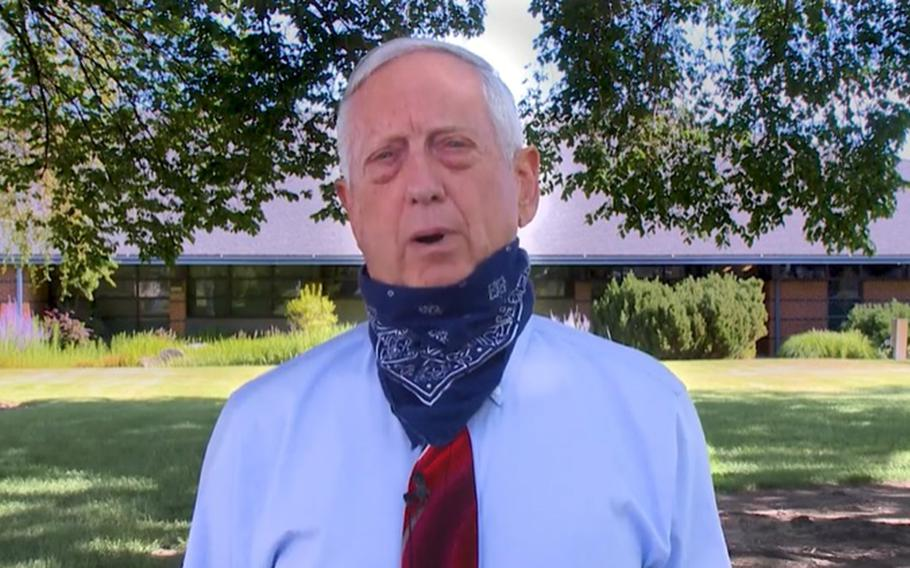 Former defense secretary and retired Marine Corps general Jim Mattis speaks about the coronavirus in this screenshot of a video released by the city of Richland, Wash., Monday, June 22, 2020.