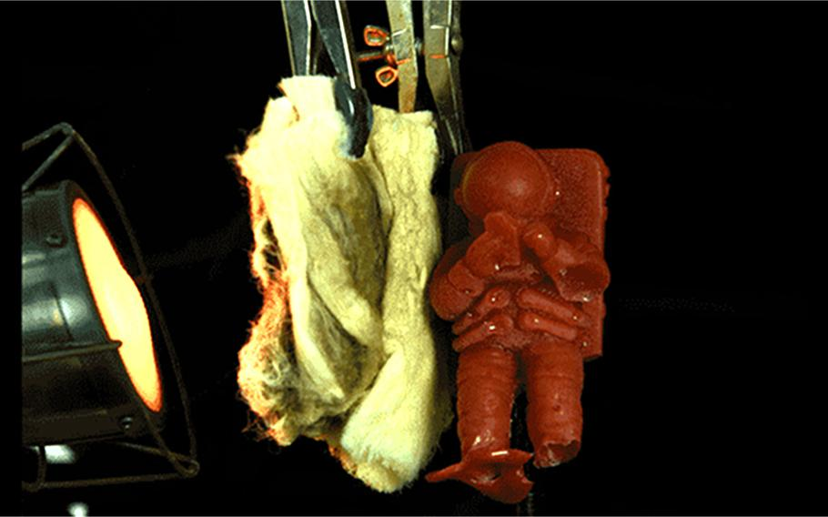 Cadets at the U.S. Military Academy at West Point tested a new nanofiber body armor material by observing whether it would protect a small gelatin astronaut figure from the heat of a blowtorch heater. The lightweight nanofiber sheets were able to withstand 20 times more heat than traditional body armor material, keeping the gelatin astronaut from melting.