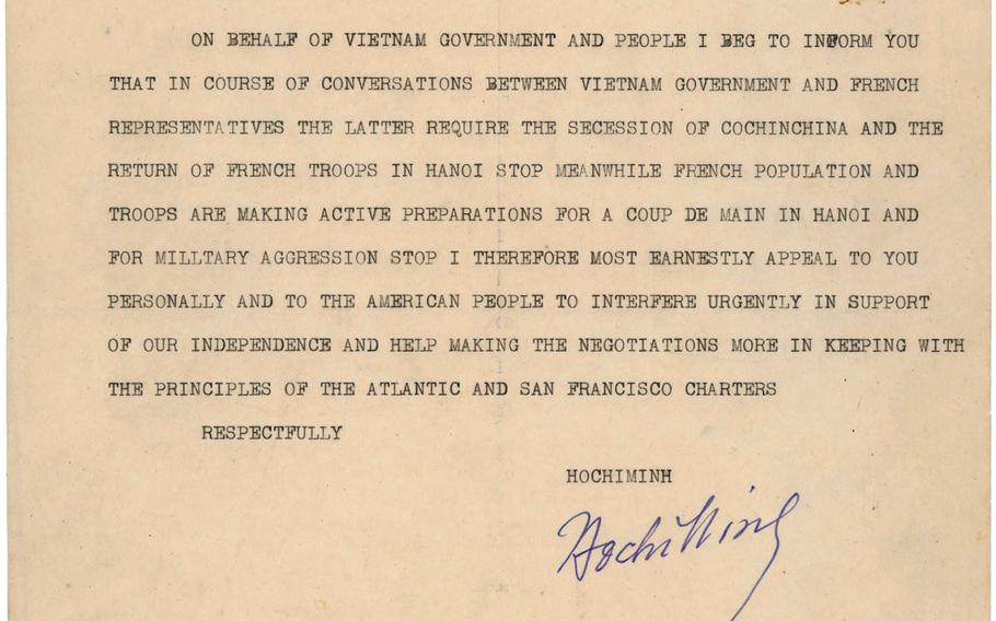Vietnamese leader Ho Chi Minh wrote to President Harry Truman on Feb. 28, 1946, asking American intercession to stop the return of French forces to their former colony in Southeast Asia. National Archives and Records Administration