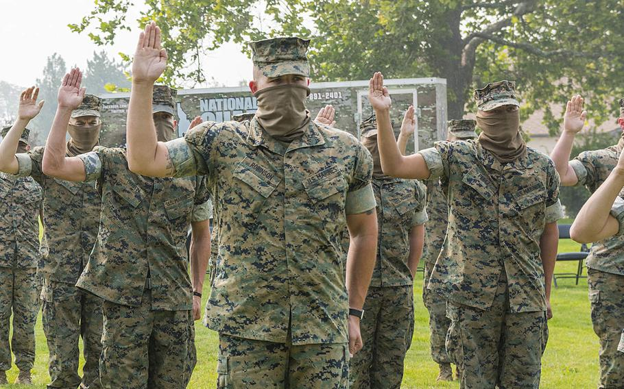 More than three dozen former Marine reservists enlisted in the Idaho Army National Guard on Sept. 13, 2020, at Gowen Field, Boise, Idaho. The service members all served in Company C, 4th Tank Battalion, which was deactivated in August as the Marine Corps divests its armor battalions.