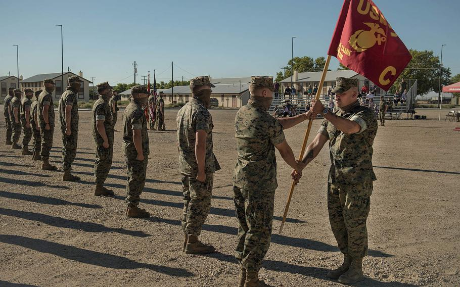 The Marine Corps Reserve's Company C, 4th Tank Battalion deactivates at Idaho National Guard Base Gowen Field, Aug. 14, 2020. More than three dozen of the former Marines enlisted in the Idaho Army National Guard on Sept. 13, 2020.
