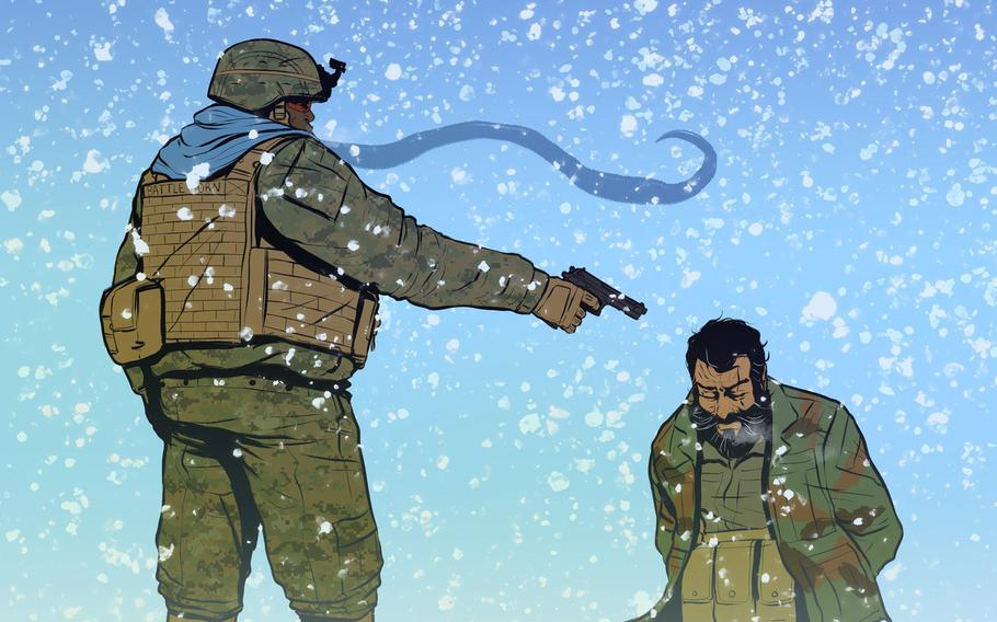 """Marines take on the Taliban and the conflict mineral trade in the mountains of Afghanistan in Maximilian Uriarte's new graphic novel, """"Battle Born: Lapis Lazuli."""""""