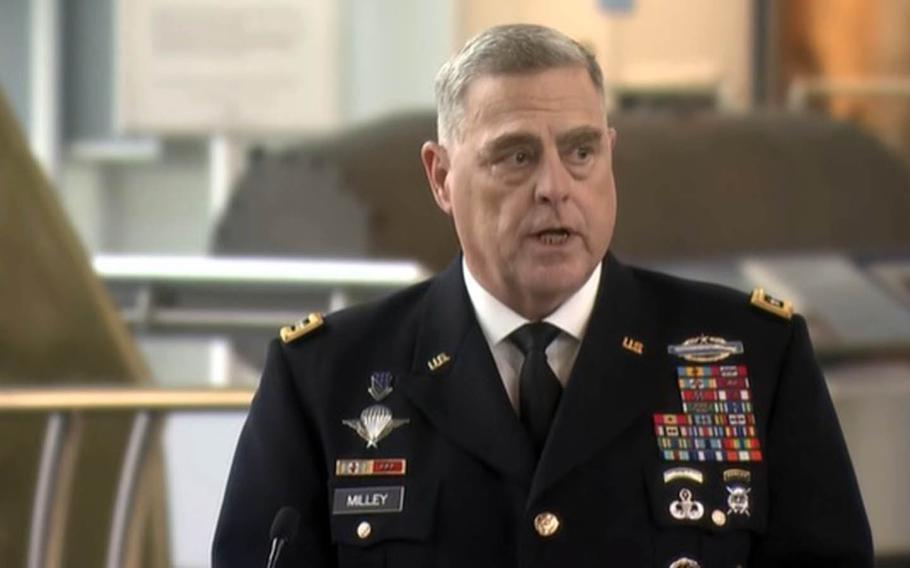 Gen. Mark Milley, chairman of the Joint Chiefs of Staff, speaks during a change-of-command ceremony for the Defense Intelligence Agency in Washington, D.C., Thursday, Oct. 1, 2020.
