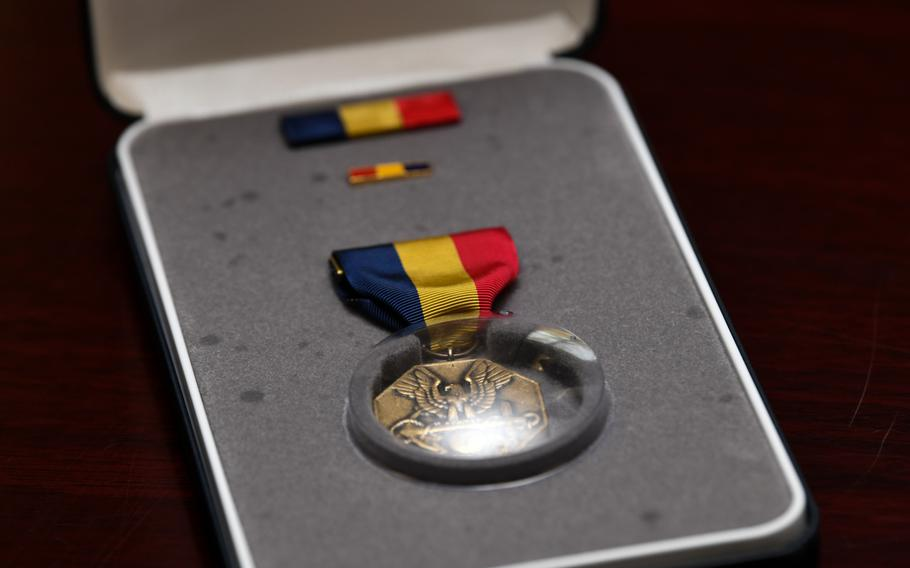 The Navy and Marine Corps Medal was posthumously awarded to Lance Cpl. Corey Staten during a ceremony held by 4th Combat Engineering Battalion in Baltimore, Md., Oct. 24, 2020. Lance Cpl. Staten was awarded the medal for sacrificing his own life to save a fellow Marine from drowning in July 2018.