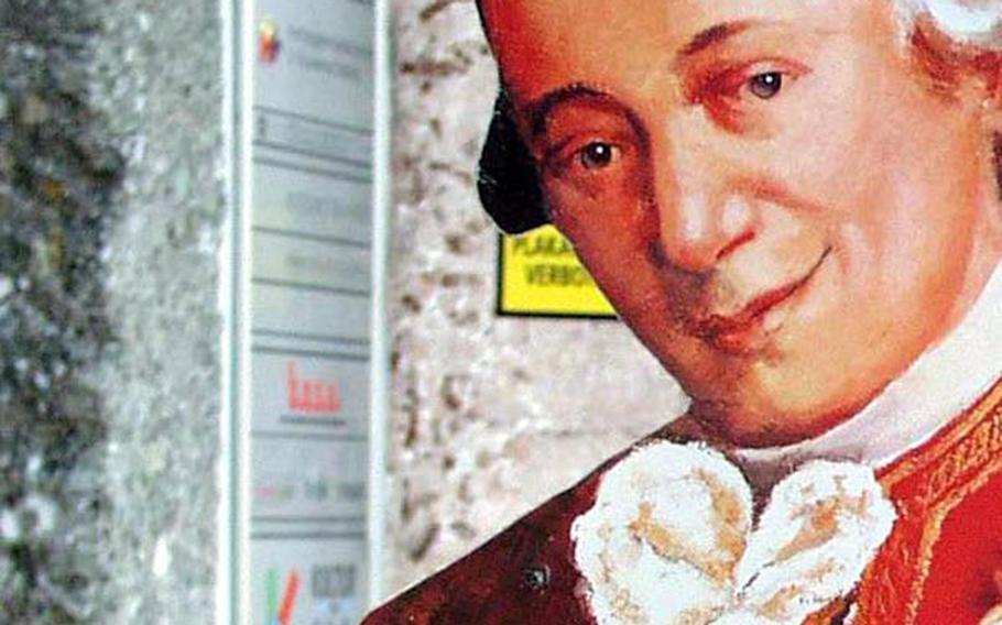 Salzburg, Austria, is certainly proud of the musical genius. Or, at least, it enjoys throwing his likeness on just about everything in sight. Many of the items for sale have very little to do with Mozart or his music.