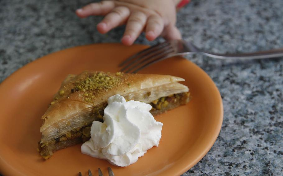 Greek Marina's baklava isn't as syrupy as some, but its finely layered pastry and mix of nuts and butter make it a rich dessert.