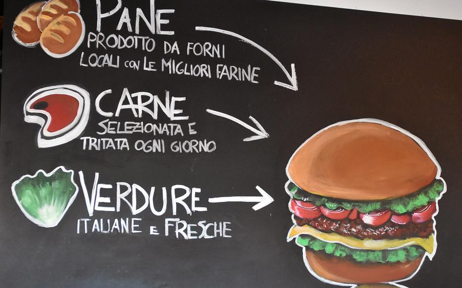 What goes into a hamburger at Funky Go? This sign on the wall describes the ingredients.