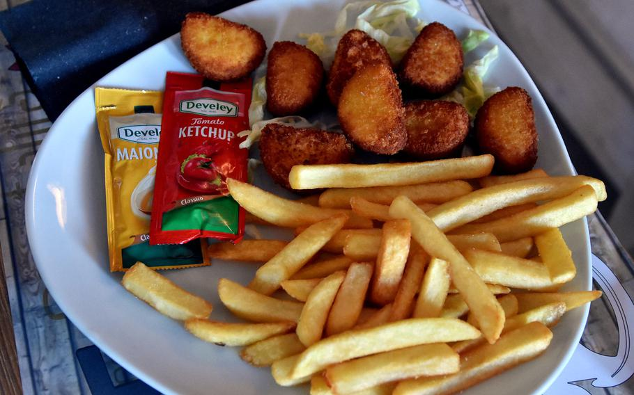 One of the options for kids at Funky Go in Pordenone, Italy, is chicken nuggets and French fries.
