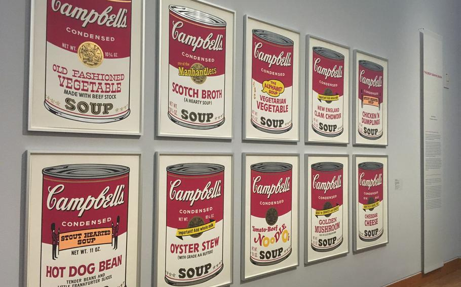 """Andy Warhol's Campbell's Soup cans are a highlights of """"The 'Great Graphic Boom'' exhibition at the Stuttgart's Staatsgalerie, the city's major art museum."""