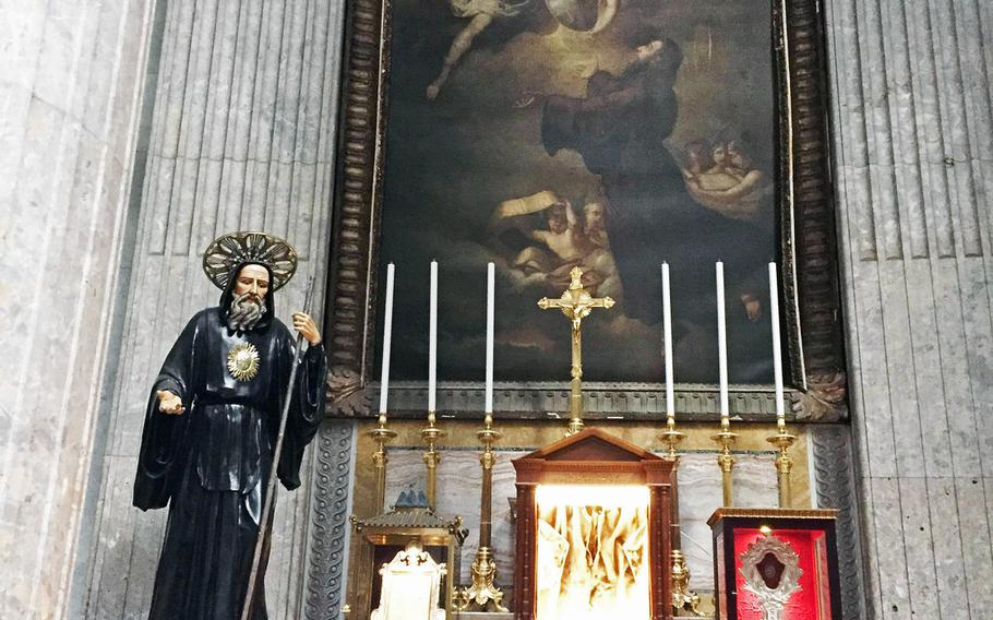 One of several shrines for St. Francis of Paola, for whom King Ferdinand 1 dedicated the cathedral, which was completed in 1816. It now stands at the Piazza del Plebiscito, a giant public square in Naples, Italy.