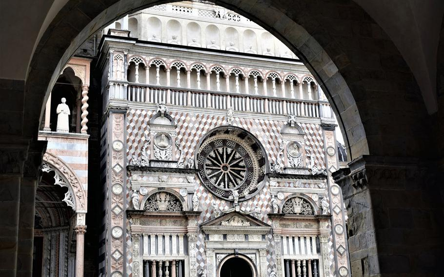 The Bergamo Cathedral is one of the main attractions in Citta Alta, the historic district of Bergamo, Italy. The cathedral is found just steps away from the main square, Piazza Vecchia.   Photo Courtesy Jackie Broome