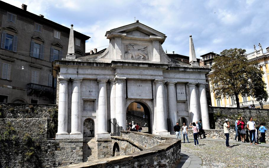 Porta San Giacomo is one of the entrances to Citta Alta, or upper city, the historic area of Bergamo, Italy. Citta Alta is accessible on foot or by funicular, bus or car.   Photo Courtesy Jackie Broome