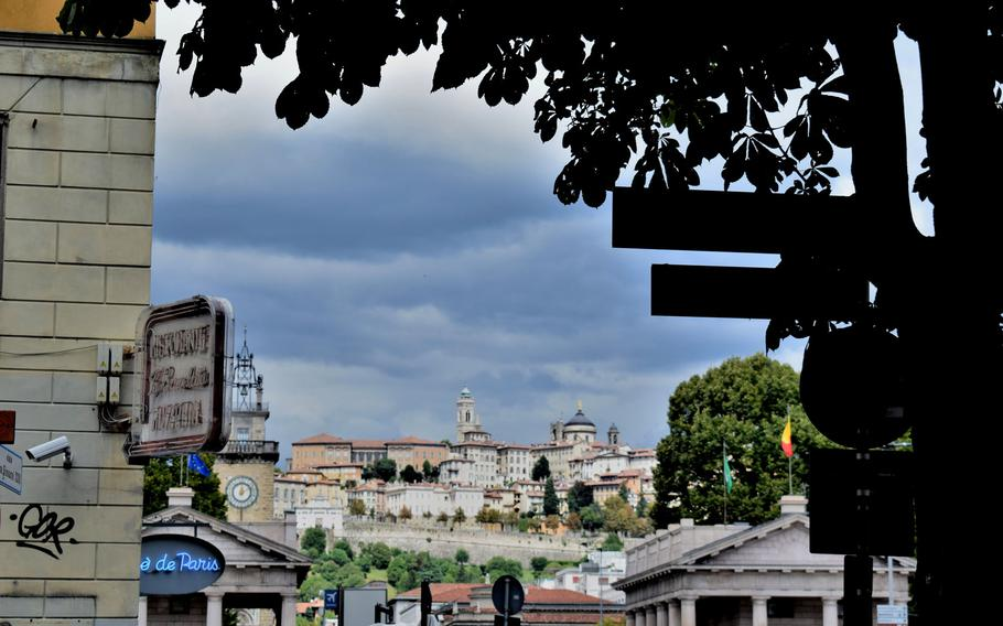 Citta Alta, or upper city, looms over the town of Bergamo, Italy. The historic area is visible from nearly everywhere in the town.    Photo Courtesy Jackie Broome