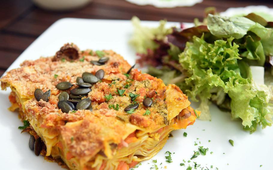 Pumpkin lasagna was one of the few vegetarian lunch offerings on a recent August day at the Brauhaus an der Gartenschau.