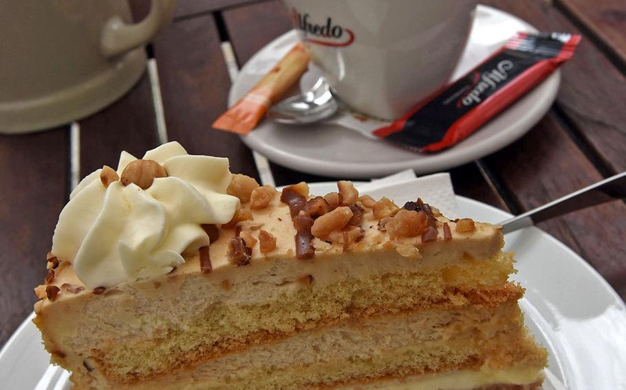 This nut cake with cream was among the offerings for dessert during a recent outing to Brauhaus an der Gartenschau.