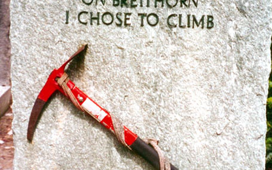 In the cemetery at Zermatt, Switzerland, a tombstone marks the final resting place of a mountain climber.