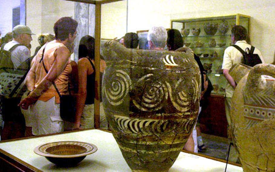 Inside the Iraklion Archaeological Museum, with its collection of Minoan treasures.