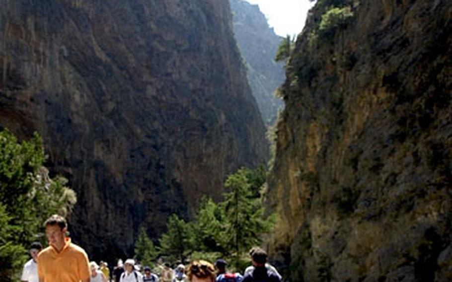 Walking through the Samaria Gorge. Just over 11 miles long, it is Europe's longest.