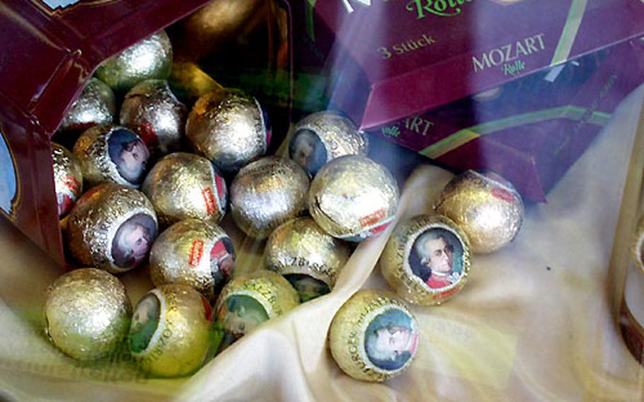 Signs of Mozart's association with Salzburg are everywhere, including these Mozart candies.