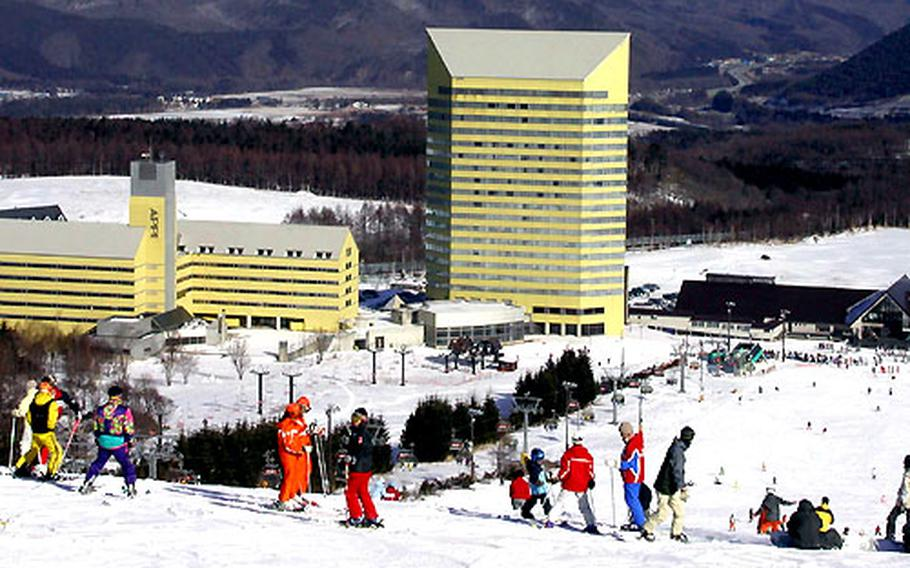 Hotel, ski shops, restaurants and hot baths await skiers using the popular Appi Kogen resort, about a two-hour drive south of Misawa Air Base, Japan.