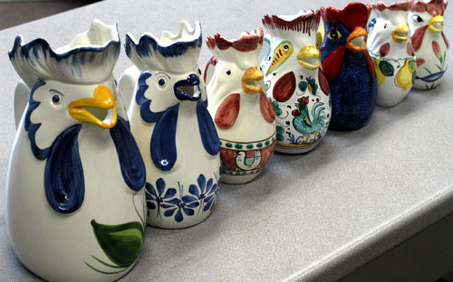 Chicken pitchers from Italy come in all sizes, colors and designs. The pitchers date back hundreds of years and are given to friends and family members to protect them from trespassers and danger.