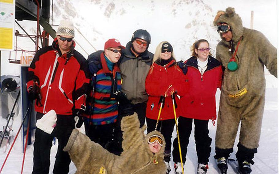 """Members of Stuttgart's Patch Ski club pose for a photo with he """"kangaroos."""" The costumed furry fellows roam the slopes to promote the Krazy Kangaruh restaurant and bar. They have been known to offer cold skiers a shot of warm-up schnapps."""