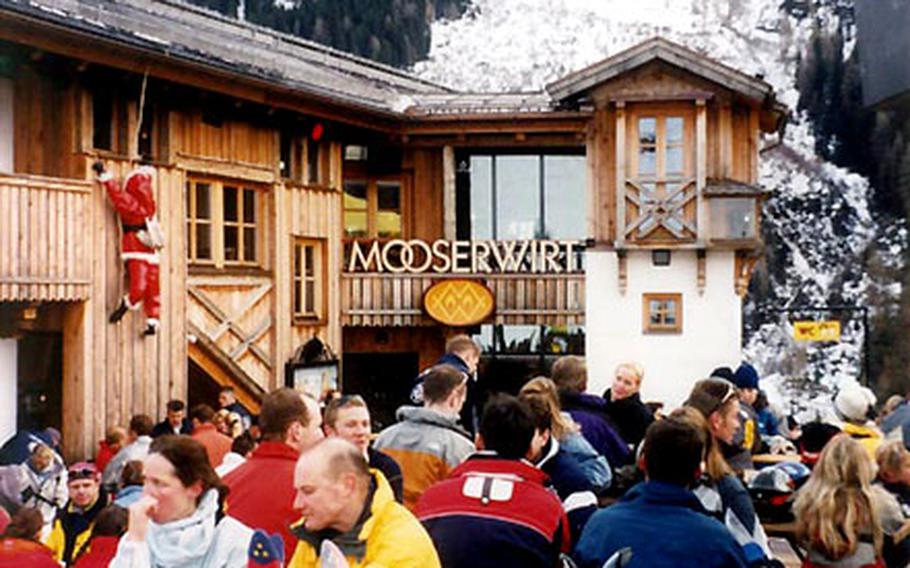 """The Mooserwirt is the """"in"""" place for lunch and apres-ski at St. Anton in Austria. Things really swing in the late afternoon when music blasts and the beer and schnapps flow."""