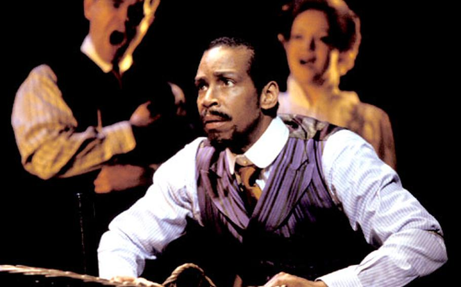 """American actor Kevyn Morrow plays Coalhouse in """"Ragtime,"""" which is currently appearing at the Piccadilly Theatre in the West End."""