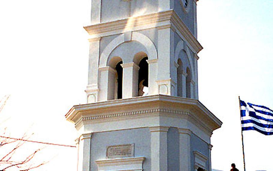 The clock tower on Poros allows for a nice view of the island.