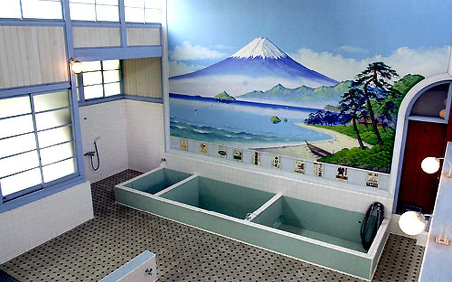 The interior of a bathhouse built in the 1920s. Many of the bathhouses in operation today have the preserved original wall paintings — and 90 percent of those are of Mount Fuji.