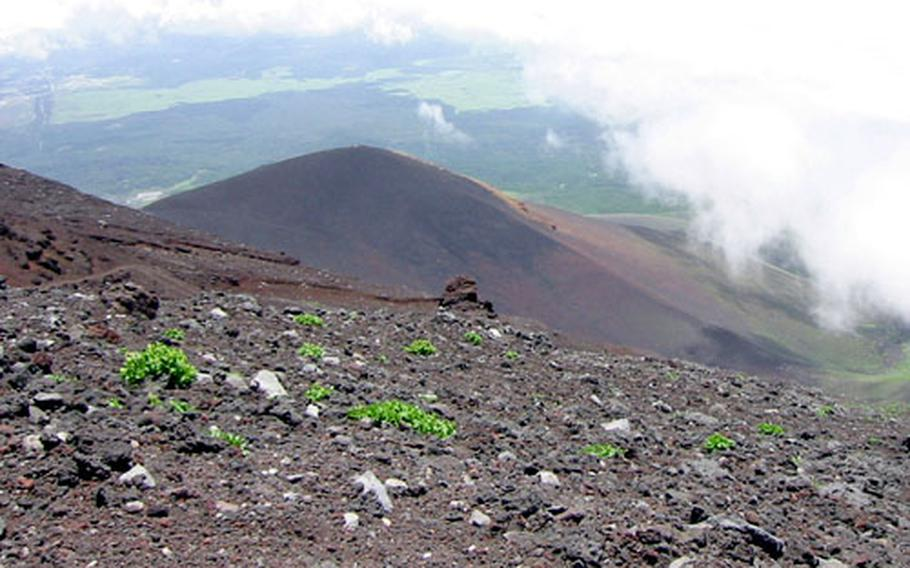 The view down, from between the 6th and 7th stations on Mount Fuji.