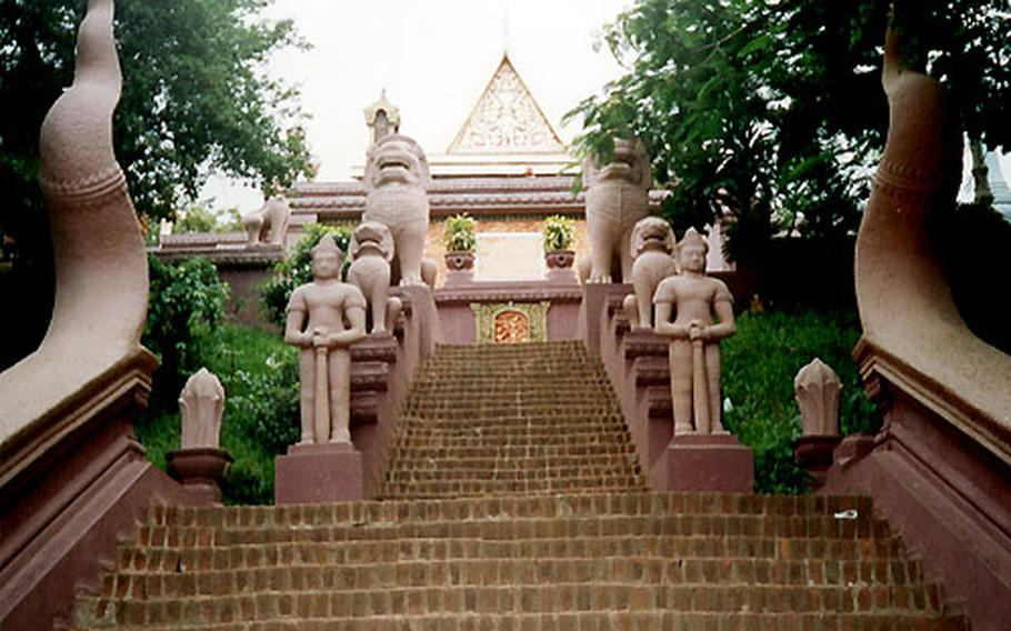 The stairway leading to Wat Phnom, a temple on the tallest hill in in Phnom Penh.