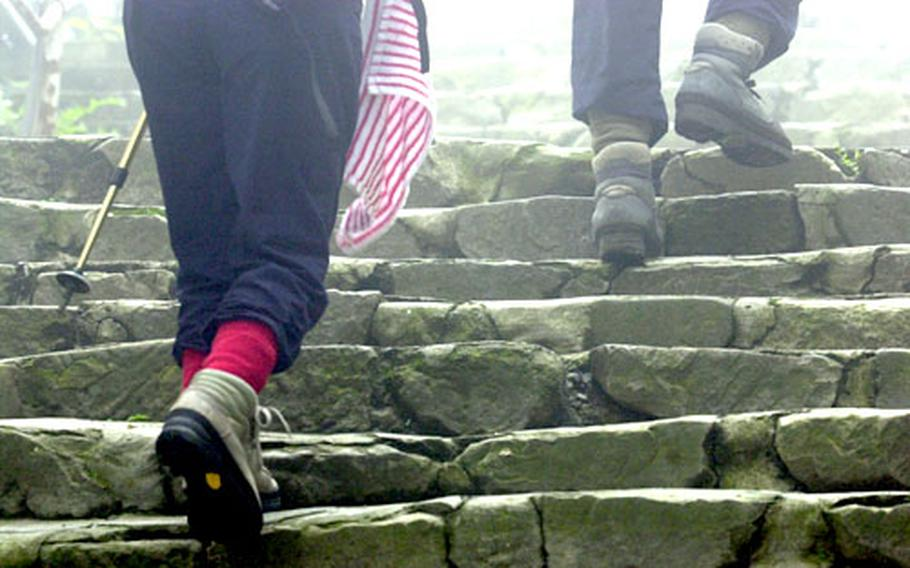Hikers tackle the uneven steps as they hike to the top of Mount Mitake.
