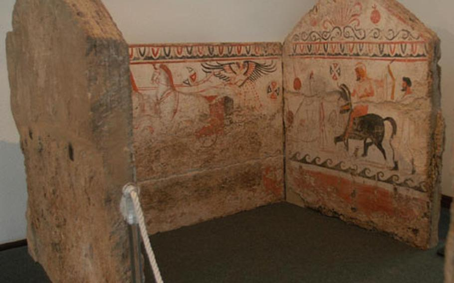 About a dozen frescoed burial crypts can be seen in the Paestum museum. Archaeologists in the area have found Greek, Roman and Etruscan tombs.