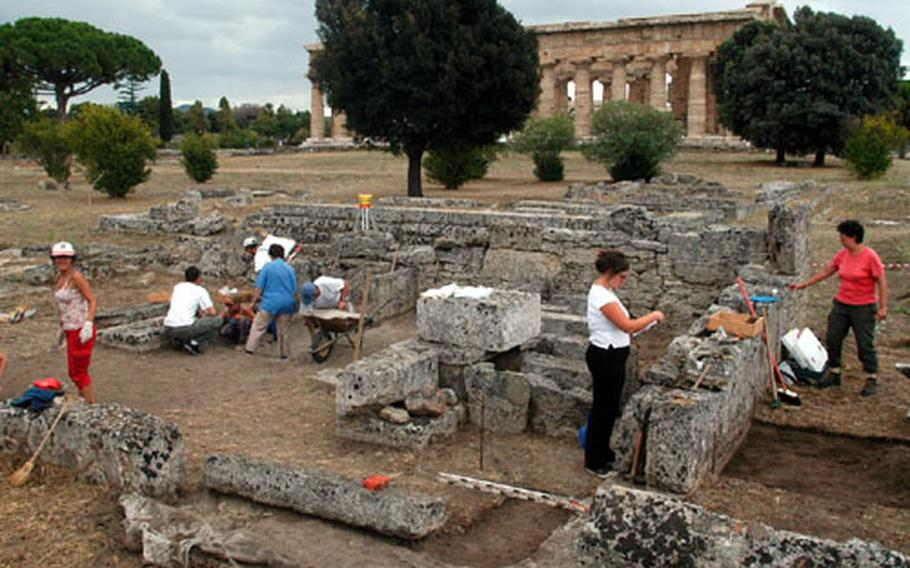 Archaeological work continues on the Paestum site. Of the half-dozen or so acres inside the Greek walls, only a few have been excavated. Marshes once covered the area and researchers, preserving much of the site.