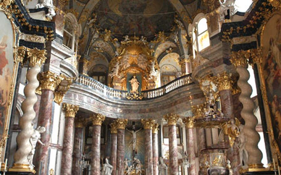 Inside the 18th century Hofkirche (Court Chapel) of the Residenz in Würzburg.