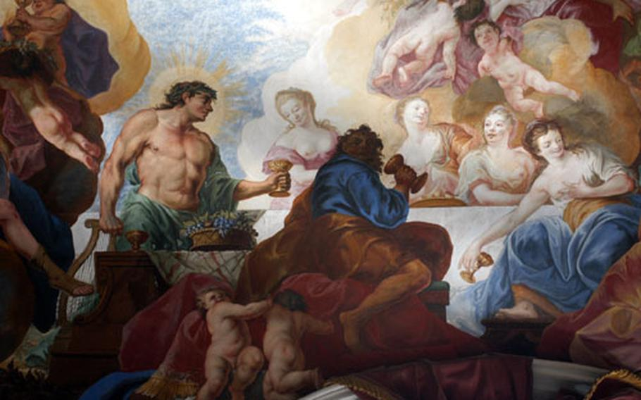 A close-up of the fresco in the Garden Hall on the first floor of the Residenz in Würzburg. It was painted by Johann Zick in 1750.