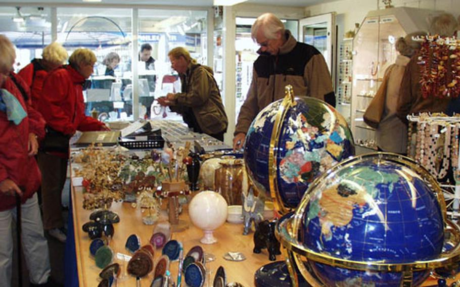 Some 1 million shoppers from around Europe and the rest of the world visit Idar-Oberstein to buy semi-precious stones, ornamental rocks and souvenirs every year. The town is about 15 minutes northwest of Baumholder, Germany.