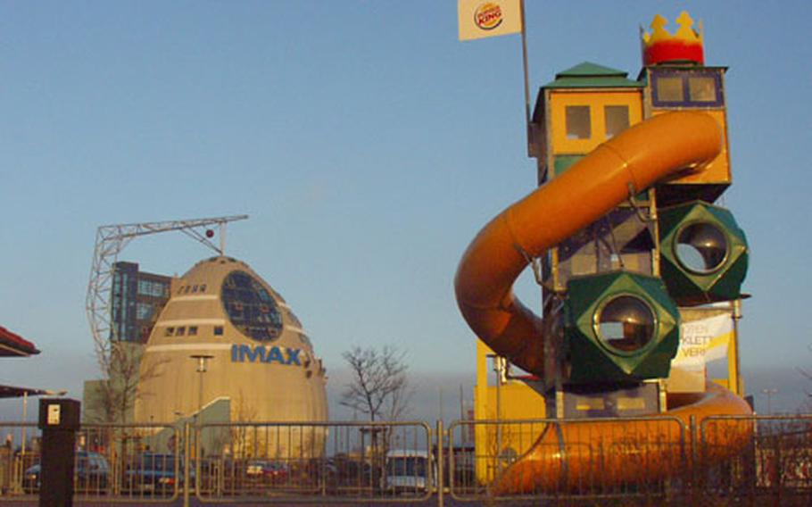 Though popular with Germans, parts of MainFrankenPark have a distinctly American flavor, including the Burger King with a children's play area in front. In the background is the IMAX theater.