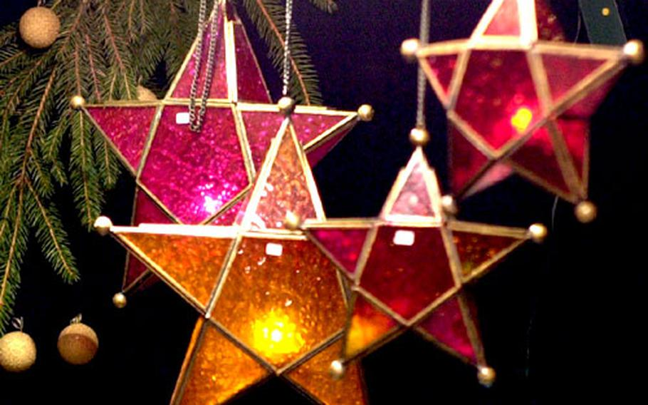 Glass stars are among the things you can buy at the Village de Noël in Liège.