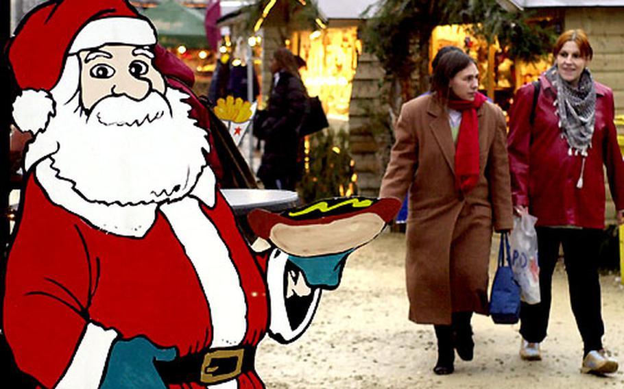 Seems like even Santa is enjoying the food at Liege, Belgium's Village de Noël — Christmas Village — on the city's Place du Marche.