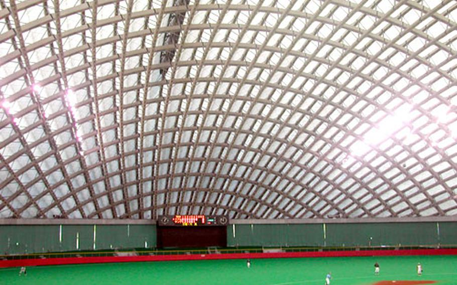 A baseball game takes place during the winter inside the dome. The dome is also home to many other sports year 'round.
