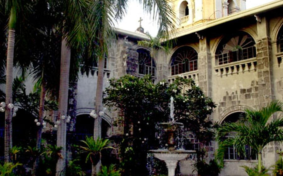 Right: Sit and enjoy the courtyard of the St. Augustine Church, looking at the palm trees and the bell tower.