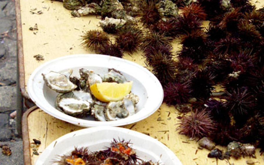 A table full of sea urchins and oysters cracked open in Cádiz.