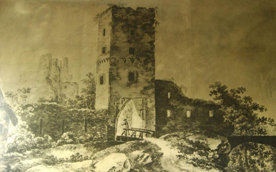 A painting in the restaurant adjacent to Burg Frankenstein shows the castle as it may have appeared before it fell into neglect in the 1700s.