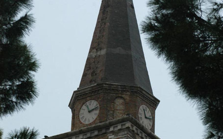 The steeple of the Basilica di Sant' Eufemia towers over much of the old town section of Grado, Italy. The city is a little more than an hour's drive east of Venice.
