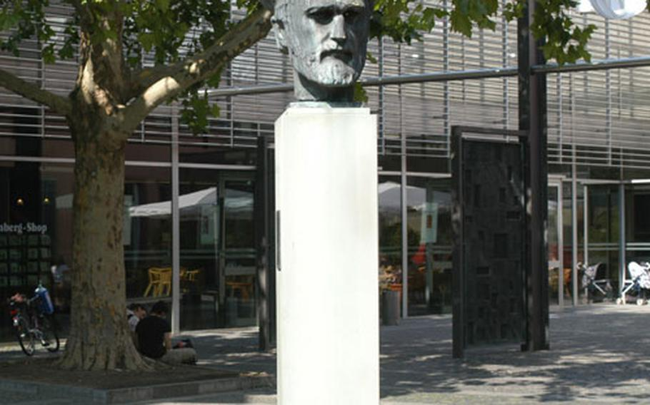 A statue of Johannes Gutenberg — who invented revolutionary printing techniques — outside the Gutenberg Museum in Mainz.
